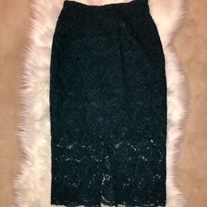 High Waisted Jade Green Lace Pencil Skirt